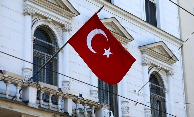 The Turkish flag is seen outside their embassy in Vienna, Austria, March 31, 2017.  REUTERS/Leonhard Foeger/File Photo