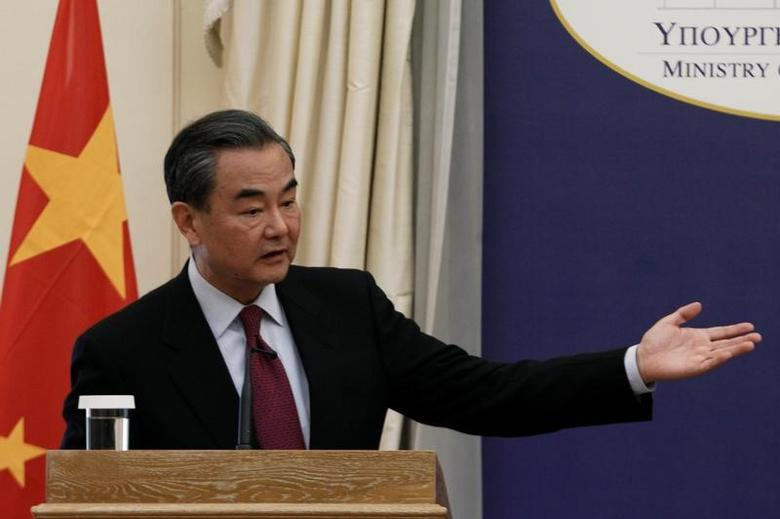 Chinese Foreign Minister Wang Yi addresses the media during a news conference following his meeting with Greek Foreign Minister Nikos Kotzias (not pictured) at the Foreign Ministry in Athens, Greece, April 23, 2017. REUTERS/Michalis Karagiannis