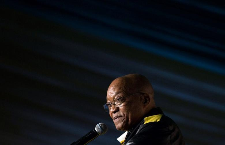President Jacob Zuma addresses crowds gathered to celebrate his 75th birthday in Kliptown, Johannesburg, South Africa, April 12, 2017. REUTERS/James Oatway