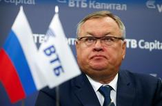 """Andrei Kostin, chief executive of VTB, attends a session of the annual VTB Capital """"Russia Calling!"""" Investment Forum in Moscow, Russia, October 13, 2016. REUTERS/Sergei Karpukhin"""