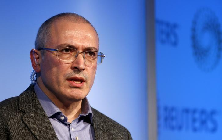 Former Russian tycoon Mikhail Khodorkovsky speaks during a Reuters Newsmaker event at Canary Wharf in London, Britain, November 26, 2015. REUTERS/Peter Nicholls/File Photo