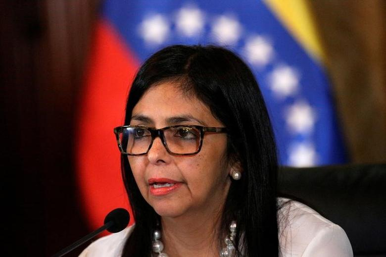 Venezuela's Foreign Minister Delcy Rodriguez talks to the media during a news conference in Caracas, Venezuela March 29, 2017. REUTERS/Marco Bello