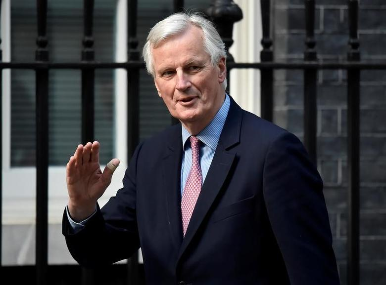 European Chief Negotiator for Brexit, Michel Barnier arrives on Downing Street in London, Britain April 26, 2017. REUTERS/Hannah McKay - RTS141X8