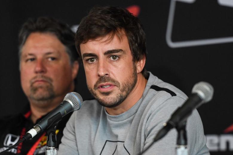 Apr 23, 2017; Birmingham, AL, USA; Fernando Alonso speaks at a press conference prior to the Honda Indy Grand Prix of Alabama at Barber Motorsports Park. Mandatory Credit: Shanna Lockwood-USA TODAY Sports