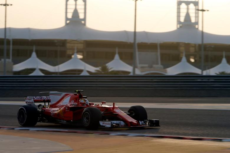Formula One - F1 - Test session - Sakhir, Bahrain International Circuit, Bahrain - 18/4/17 - Ferrari Formula One driver Sebastian Vettel of Germany drives during the testing session at Bahrain. REUTERS/Hamad I Mohammed