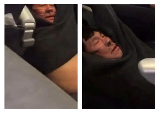 4月27日、米シカゴの空港で今月、オーバーブッキング(過剰予約)となったユナイテッド航空3411便から男性客が強制的に降ろされた問題を巡り、ユナイテッド航空とこの男性は和解したことを発表した。写真は男性が引きずりおろされる様子を、他の乗客が撮影した映像の静止画(2017年 ロイター/Jayse D. Anspach)