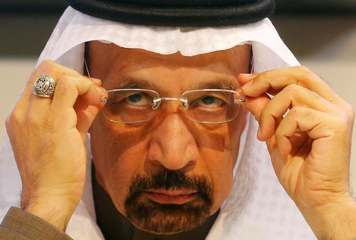 Saudi Arabia's Energy Minister Khalid al-Falih adjusts his glasses during a news conference after a meeting of the Organization of the Petroleum Exporting Countries (OPEC) in Vienna, Austria, December 10, 2016.    REUTERS/Heinz-Peter Bader/File Photo