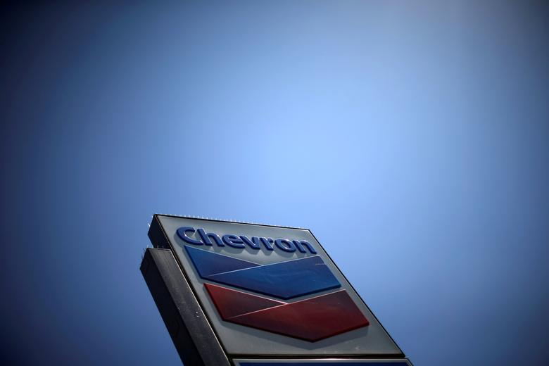 FILE PHOTO: The logo of Chevron (CVX) is seen in Los Angeles, California, United States, April 12, 2016. REUTERS/Lucy Nicholson/File Photo
