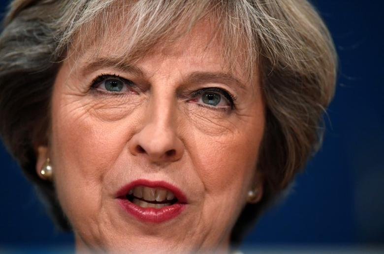 Britain's Prime Minister Theresa May speaks at the annual Conservative Party Conference in Birmingham, Britain, October 2, 2016. To match Insight BRITAIN-EU/MAY-SPEECH REUTERS/Toby Melville/File Photo