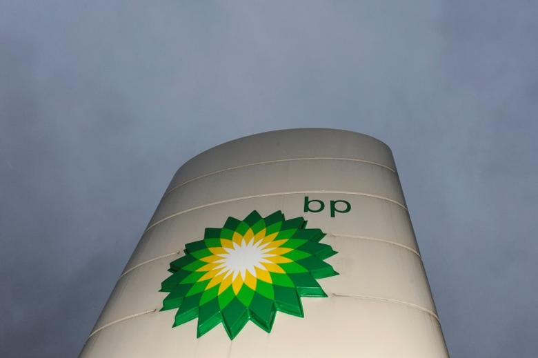 FILE PHOTO: A British Petroleum petrol station logo is seen at Heathrow in London, Britain February 2, 2010.     REUTERS/Toby Melville/File Photo
