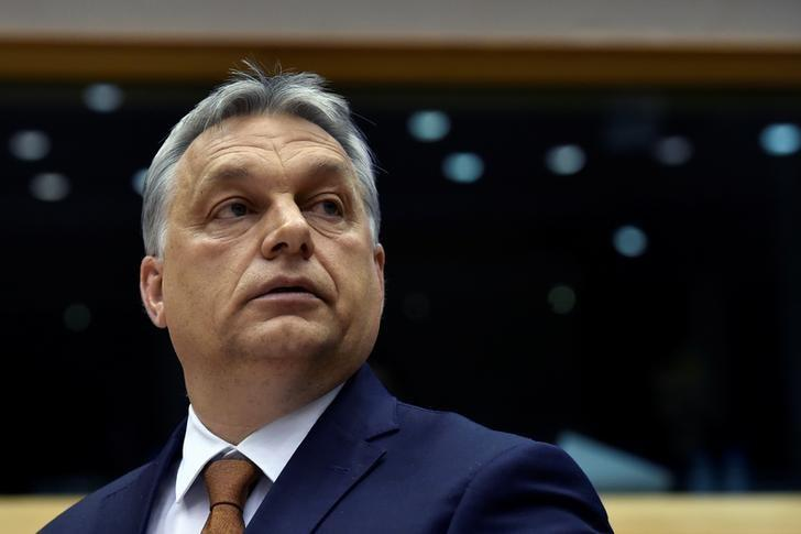 Hungary's Prime Minister Viktor Orban looks up during a plenary session at the European Parliament (EP) in Brussels, Belgium April 26, 2017. REUTERS/Eric Vidal