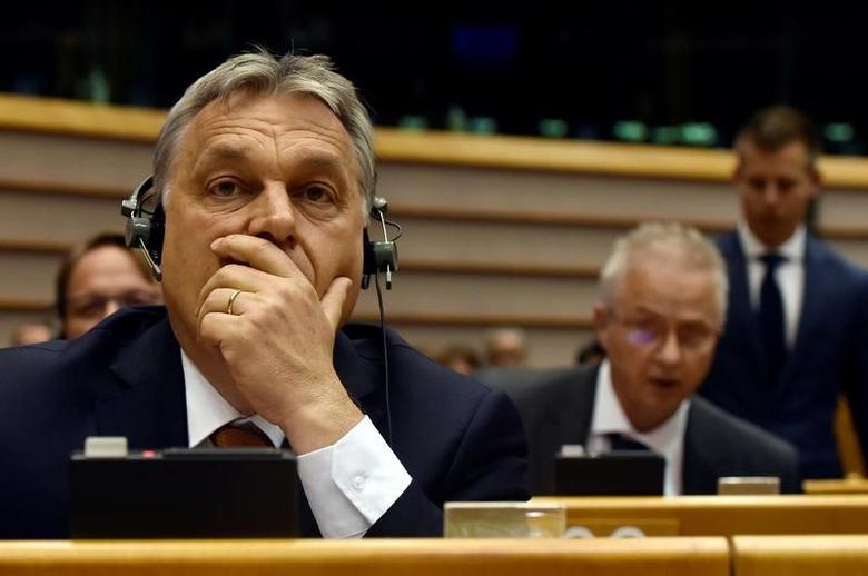 Hungary's Prime Minister Viktor Orban reacts during a plenary session at the European Parliament (EP) in Brussels, Belgium April 26, 2017. REUTERS/Eric Vidal