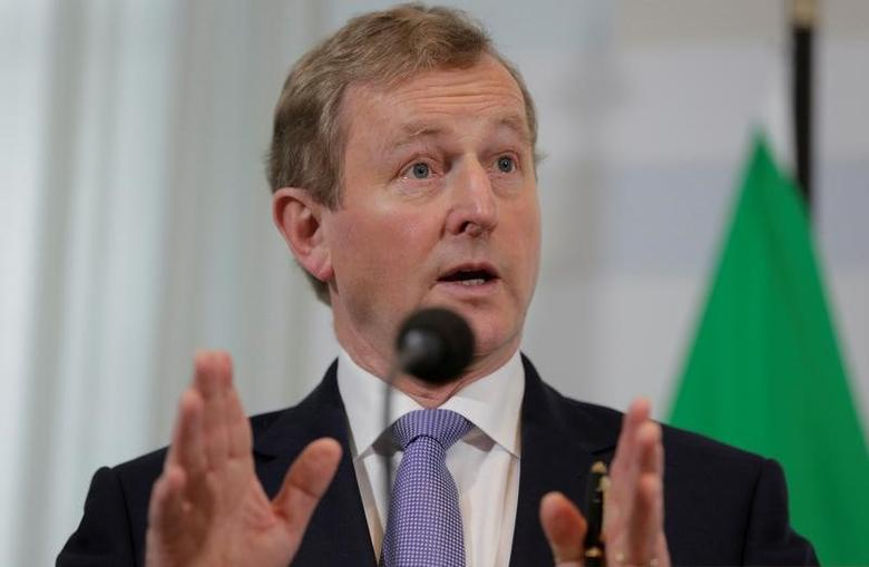Ireland's Enda Kenny speaks during a news conference in the Hague, the Netherlands April 21, 2017. REUTERS/Michael Kooren
