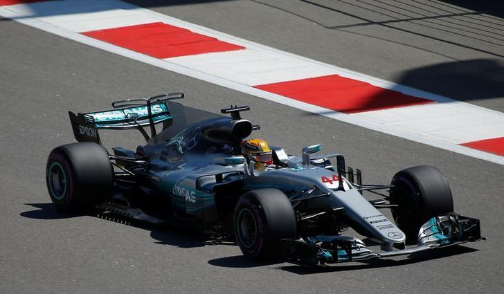 Formula One - F1 - Russian Grand Prix - Sochi, Russia - 29/04/17 - Mercedes Formula One driver Lewis Hamilton of Britain drives during the third practice session. REUTERS/Maxim Shemetov