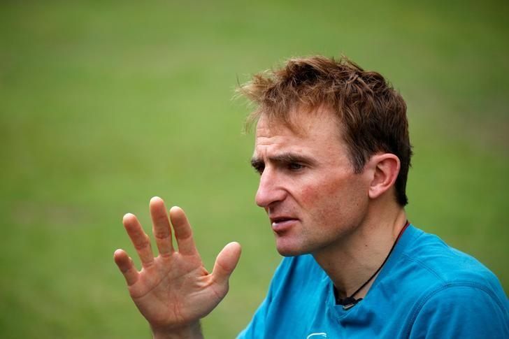 Ueli Steck, a mountaineer from Switzerland, speaks to the media during an interview at a hotel in Kathmandu, Nepal May 30, 2016. REUTERS/Navesh Chitrakar/Files