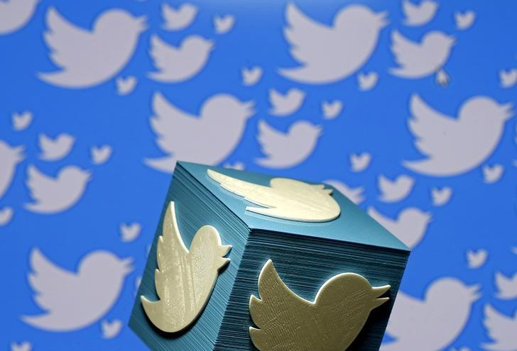 FILE PHOTO - A 3D-printed logo for Twitter is seen in this picture illustration made in Zenica, Bosnia and Herzegovina on January 26, 2016.  REUTERS/Dado Ruvic/Illustration/File Photo