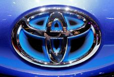 FILE PHOTO: The Toyota logo seen during the 87th International Motor Show at Palexpo in Geneva, Switzerland March 6, 2017. REUTERS/Arnd Wiegmann/File Photo