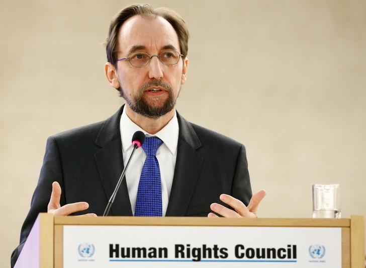 FILE PHOTO: Zeid Ra'ad Al Hussein, U.N. High Commissioner for Human Rights attends the 34th session of the Human Rights Council at the European headquarters of the United Nations in Geneva, Switzerland, February 27, 2017. REUTERS/Denis Balibouse