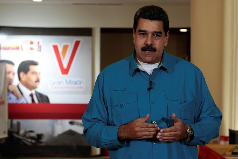 Venezuela's President Nicolas Maduro speaks during his weekly broadcast ''Los Domingos con Maduro'' (The Sundays with Maduro) in Caracas, Venezuela April 30, 2017. Miraflores Palace/Handout via REUTERS