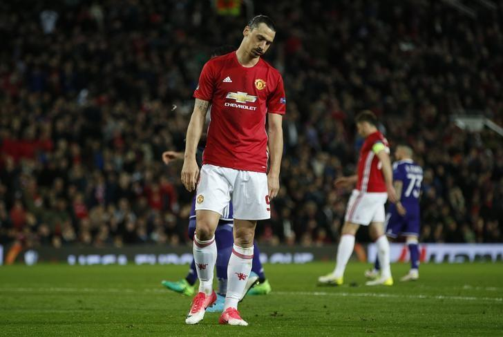 Britain Football Soccer - Manchester United v RSC Anderlecht - UEFA Europa League Quarter Final Second Leg - Old Trafford, Manchester, England - 20/4/17 Manchester United's Zlatan Ibrahimovic looks dejected after a missed chance Reuters / Andrew Yates Livepic