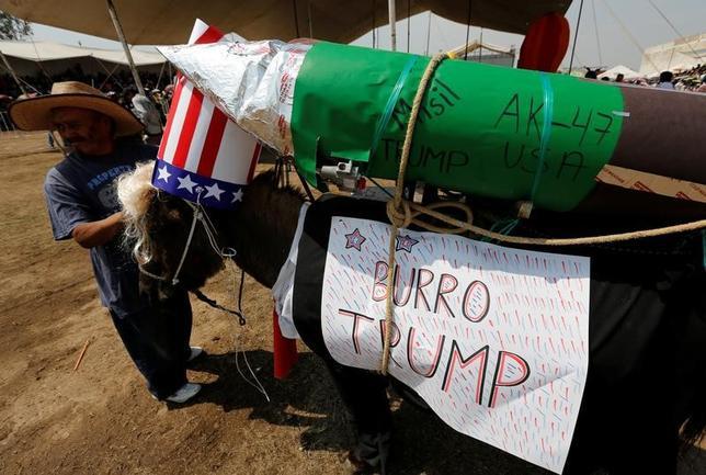 5月1日、メキシコの田舎町オトゥンバでロバが主役の祭りが開催され、数千人の観客が訪れた。ロバたちは時勢を反映した衣装をまとって登場、この日人気だったのは、背中にミサイルの模型を背負ったアンクルサムの衣装だった(2017年 ロイター/Henry Romero)
