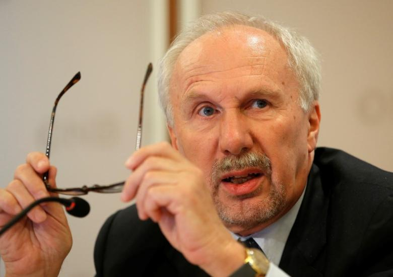 European Central Bank (ECB) Governing Council member Ewald Nowotny addresses a news conference in Vienna, Austria, March 30, 2017. REUTERS/Heinz-Peter Bader
