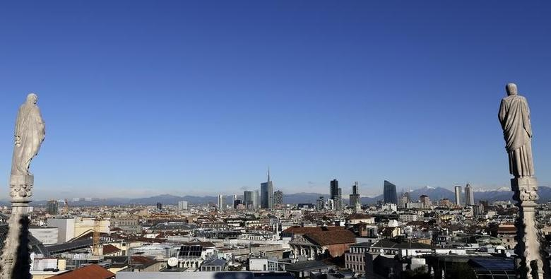 Milan's business district skyline is seen from Duomo's Cathedral downtown Milan, Italy , January 13, 2016. REUTERS/Stefano Rellandini