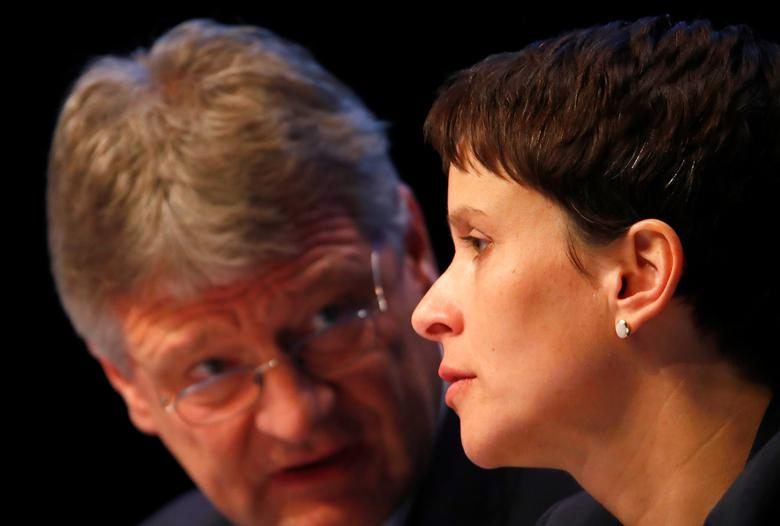 FILE PHOTO: AFD chairwoman Frauke Petry and Joerg Meuthen of Germany's anti-immigration party Alternative for Germany (AFD) speak on the AFD's party congress in Cologne Germany, April 22, 2017. REUTERS/Wolfgang Rattay/File Photo