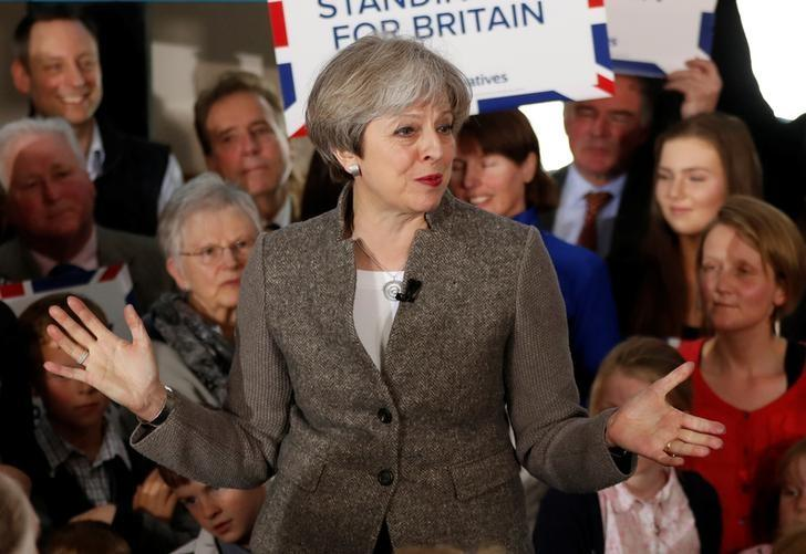 Britain's Prime Minister Theresa May speaks at an election campaign rally near Aberdeen in Scotland, Britain April 29, 2017.  REUTERS/Russell Cheyne