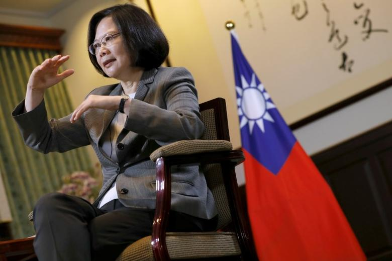 FILE PHOTO: Taiwan President Tsai Ing-wen reacts during an interview with Reuters at the Presidential Office in Taipei, Taiwan April 27, 2017. REUTERS/Tyrone Siu