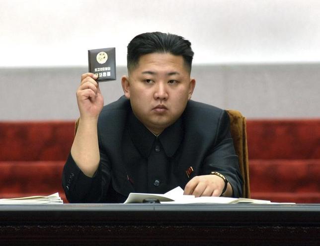 5月3日、北朝鮮が異例の中国批判を行った。写真は金正恩・朝鮮労働党委員長。平壌で2012年4月撮影(2017年 ロイター/KCNA)