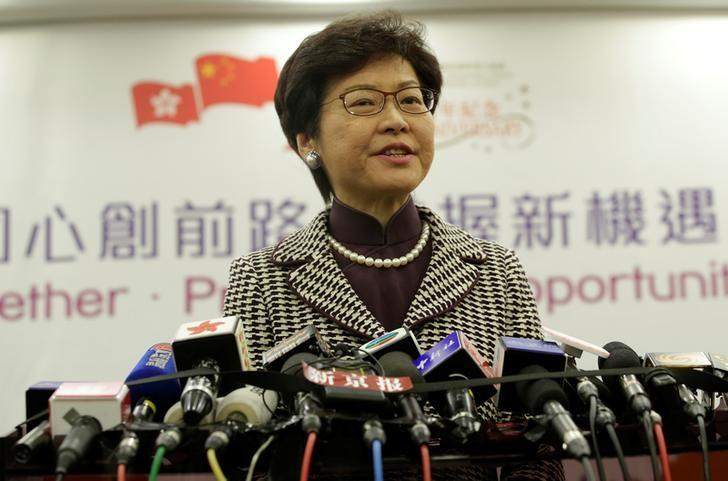 Hong Kong leader-elect Carrie Lam attends a news conference in Beijing, China April 11, 2017. REUTERS/Jason Lee