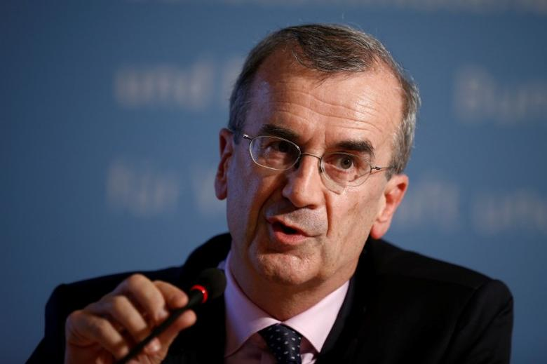 FILE PHOTO: Governor of the Bank of France Francois Villeroy de Galhau attends a press conference after the Franco-German Financial Council meeting in Berlin, Germany, September 23, 2016.    REUTERS/Axel Schmidt