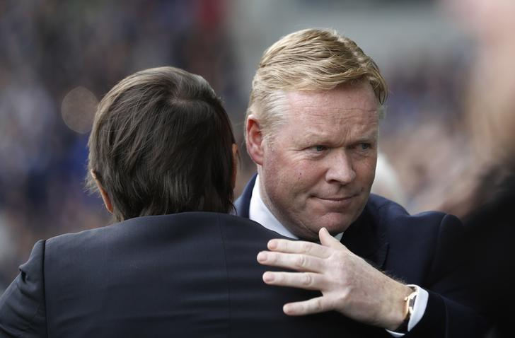 Britain Football Soccer - Everton v Chelsea - Premier League - Goodison Park - 30/4/17 Chelsea manager Antonio Conte and Everton manager Ronald Koeman before the match  Action Images via Reuters / Carl Recine Livepic