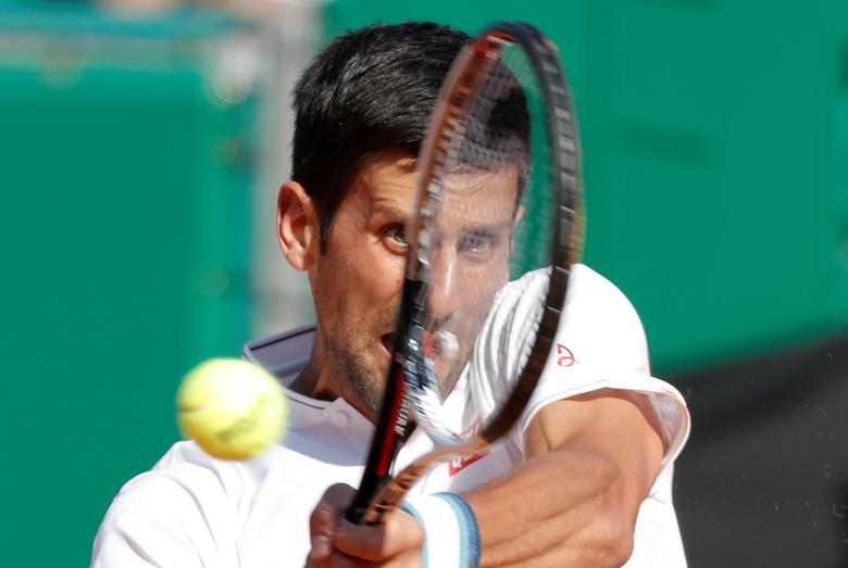 Tennis - Monte Carlo Masters - Monaco - 21/04/2017 - Novak Djokovic of Serbia plays a shot to David Goffin of Belgium. REUTERS/Eric Gaillard