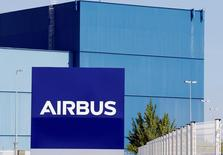 The logo of Airbus Group is seen on the company's headquarters building in Toulouse, Southwestern France, April 18, 2017.  REUTERS/Regis Duvignau