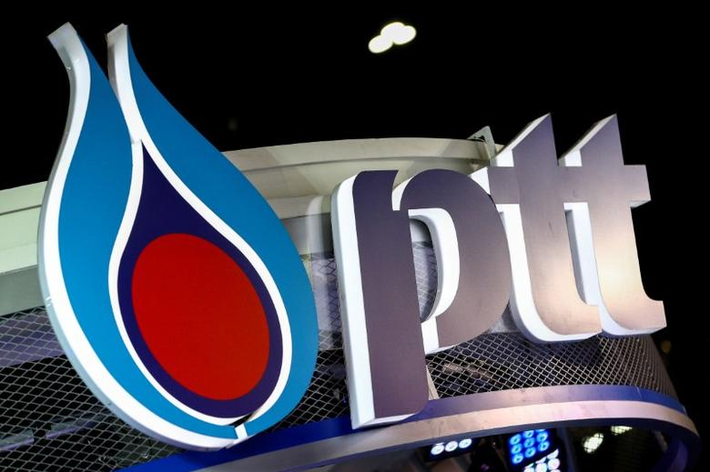 The logo of PTT is pictured at the 38th Bangkok International Motor Show in Bangkok, Thailand March 28, 2017. REUTERS/Athit Perawongmetha