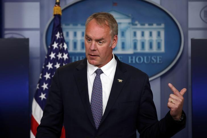 Secretary of the Interior Ryan Zinke speaks during a daily press briefing at the White House in Washington, U.S., April 3, 2017. REUTERS/Carlos Barria/File Photo