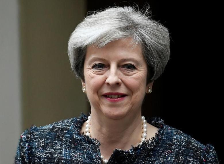 Britain's Prime Minister Theresa May leaves 10 Downing Street to travel to Buckingham Palace to visit Queen Elizabeth after Parliament was dissolved prior to the general election, in London May 3, 2017. REUTERS/Toby Melville
