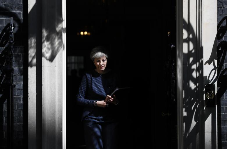 Britain's Prime Minister Theresa May prepares to speak to the media outside 10 Downing Street, in central London, Britain. REUTERS/Stefan Wermuth