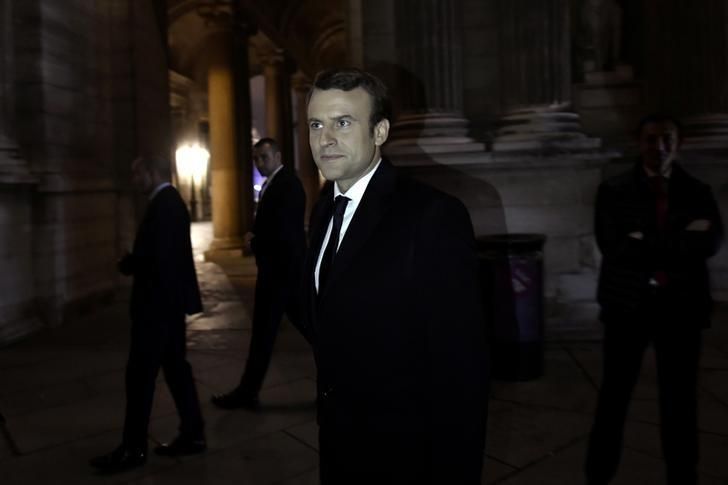 French President-elect Emmanuel Macron arrives to deliver a speech during his victory rally at the Louvre Museum after the results in the second round of the French presidential election, in Paris, France, May 7, 2017.   REUTERS/Philippe Lopez/Pool