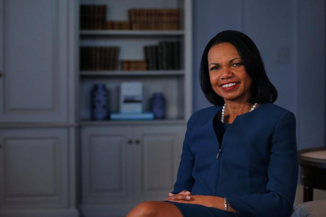 Former U.S. Secretary of State Condoleezza Rice poses for a portrait while promoting her new book ''Democracy: Stories from the Long Road to Freedom'' in New York, U.S. May 8, 2017. REUTERS/Lucas Jackson
