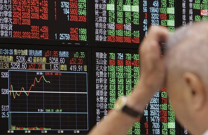 A man monitors stock market prices in Taipei October 9, 2008. REUTERS/Pichi Chuang (TAIWAN)