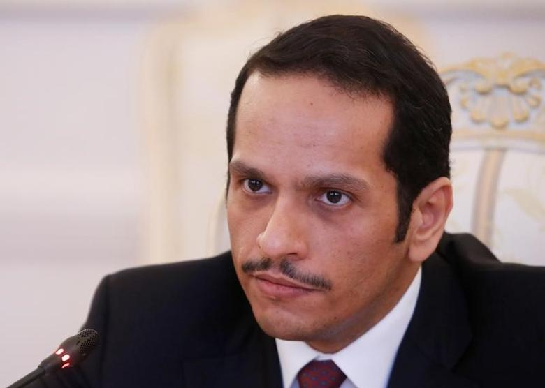 Qatari Foreign Minister Sheikh Mohammed bin Abdulrahman bin Jassim Al-Thani attends a meeting with Russian Foreign Minister Sergei Lavrov in Moscow, Russia, April 15, 2017. REUTERS/Maxim Shemetov
