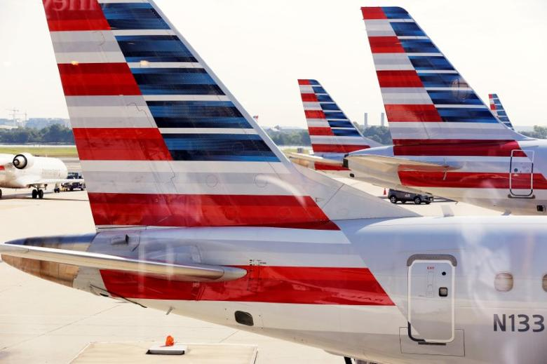 FILE PHOTO --  American Airlines aircraft are parked at Ronald Reagan Washington National Airport in Washington, U.S., August 8, 2016.      REUTERS/Joshua Roberts/File Photo