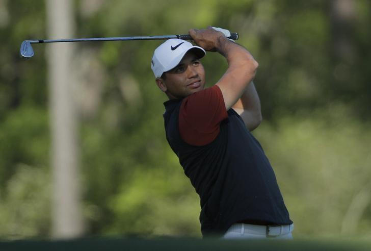 Jason Day of Australia hits off the 12th tee in second round play during the 2017 Masters golf tournament at Augusta National Golf Club in Augusta, Georgia, U.S., April 7, 2017. REUTERS/Mike Segar/Files