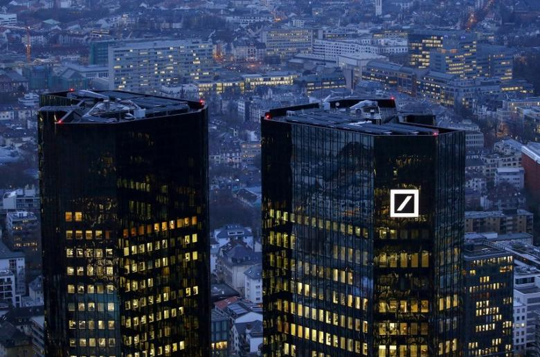 FILE PHOTO: The headquarters of Germany's Deutsche Bank is seen early evening in Frankfurt, Germany, January 26, 2016.   REUTERS/Kai Pfaffenbach/File Photo
