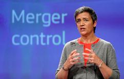 La Comisión Europea dijo el miércoles que lanzaría nuevas investigaciones en el sector del comercio electrónico tras haber descubierto prácticas empresariales que restringen la competencia. En la imagen, la comisaria europa de Competencia, Margrethe Vestager, durante una rueda de prensa en la sede de la Comisión en Bruselas, el 5 de abril de 2017. REUTERS/François Lenoir