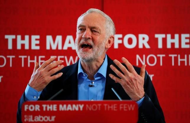 5月10日、英最大野党の労働党は、6月8日の総選挙で勝利した場合は法人税率を現行の19%から引き上げ26%とする方針を示した。写真はコービン党首、リーズで撮影(2017年 ロイター/Phil Noble)