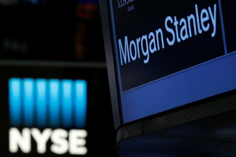 FILE PHOTO: The Morgan Stanley logo is displayed at the post where it is traded on the floor of the New York Stock Exchange (NYSE) in New York, U.S., April 19, 2017. REUTERS/Brendan McDermid